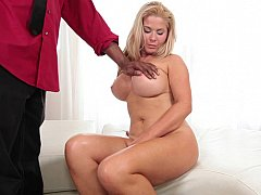 Thick blonde gets blacked