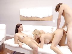 Steamy mom and daughter fuck play at home