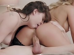 Exclusive mom and daughter trio porn at home