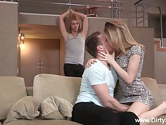 Scrumptious Russian teen Isabel Stern is fucked hard in front of cuckold boyfriend