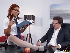 Dismal redhead Jenna Foxx gets brashness filled with cum in a miniskirt