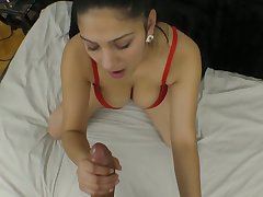 Riveting busty babe Ava Glowering gives a POV blowjob and gets her slit banged