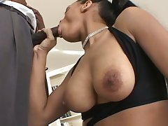 Incredibly voracious big breasted nympho gives a acquiescent BJ to BBC