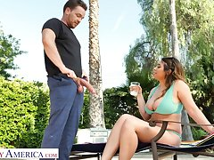 Marvelous bosomy beauty Ella Knox desires with respect to private road fat prick on top