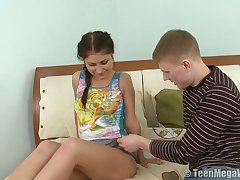 Svelte natural GF Elena G begs dude to polish her unused pussy generously