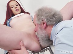 Young Tiffani Love gets fucked by a senior guy coupled with she loves euphoria