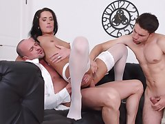 Angie Moon deals four dicks in the most amazing manners