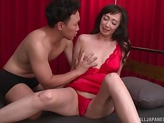 Otowa Ayako wears sexy red lingerie for fucking without mercy
